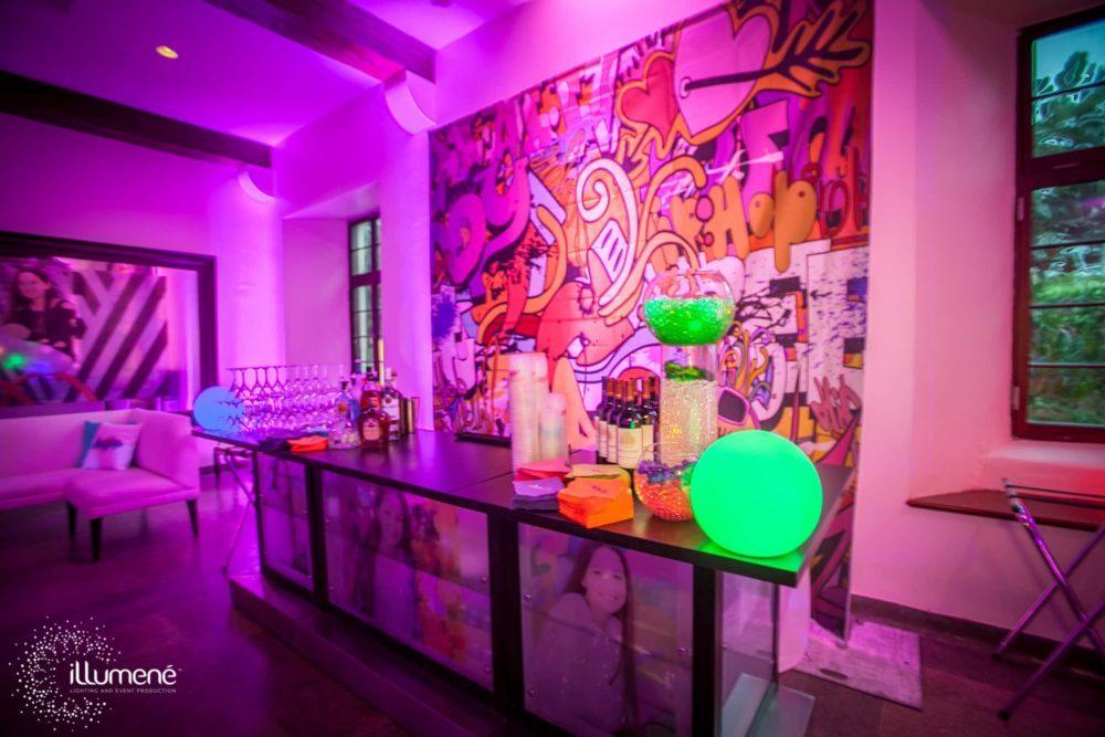 Bat mitzvah decor Miami LED light balls LED glow spheres Floating LED pool balls party table decor