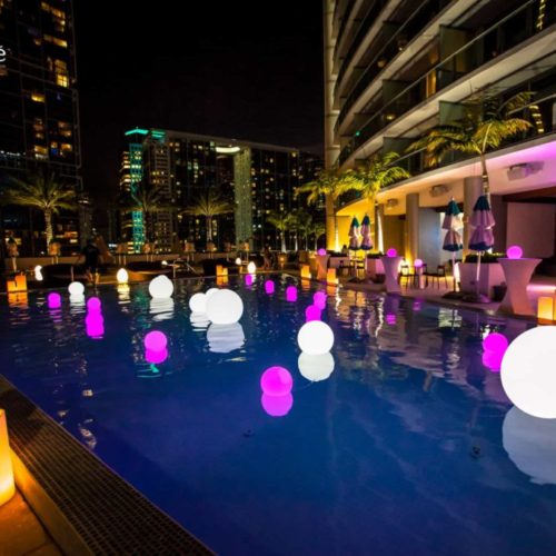 LED pool balls LED floating pool balls LED glowing orbs party Miami