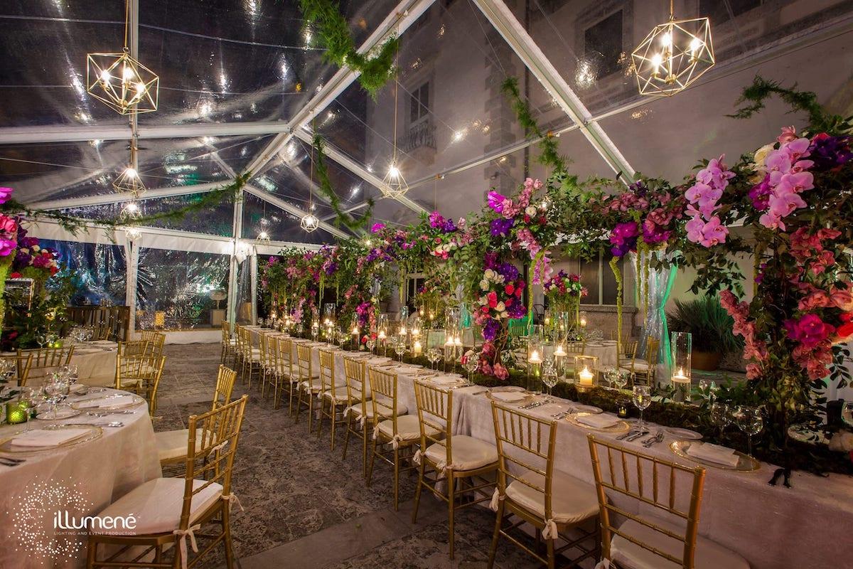 Pendant light Vizcaya Miami wedding geometric pendant lights