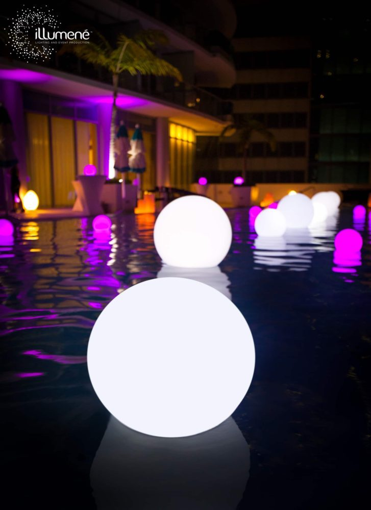 Pool party LED glow balls floating spheres floating LED pool balls