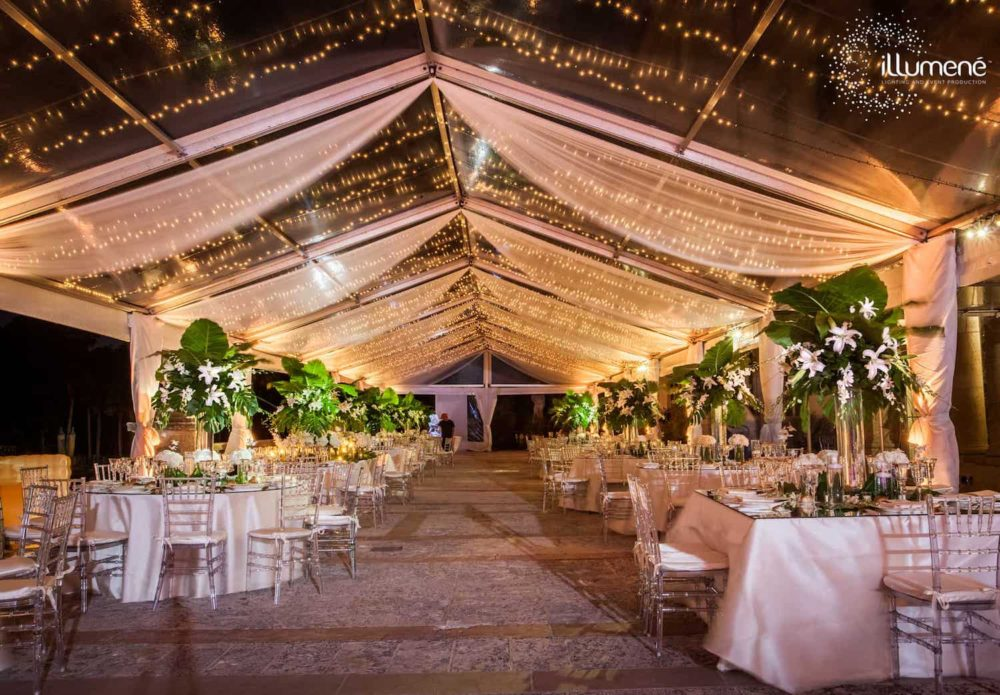 Tent fabric swags, tent draping Vizcaya Museum and Gardens
