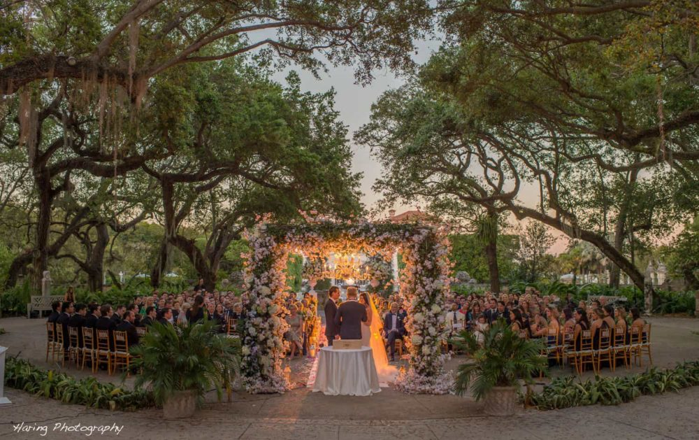 Vizcaya Museum wedding lighting ceremony on the mound