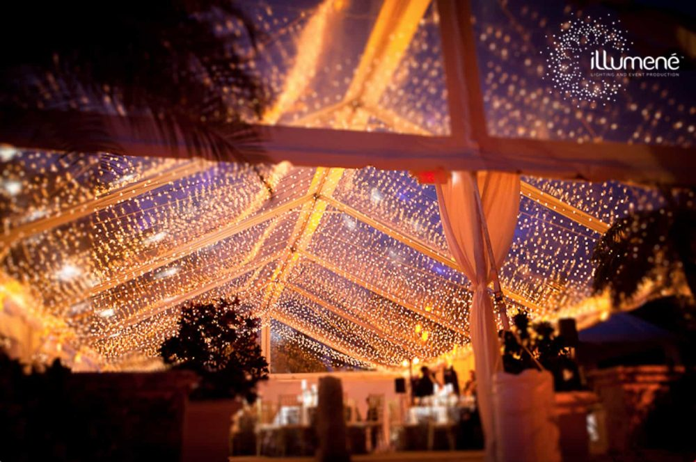 Fisher Island Club twinkle lights tent wedding lighting