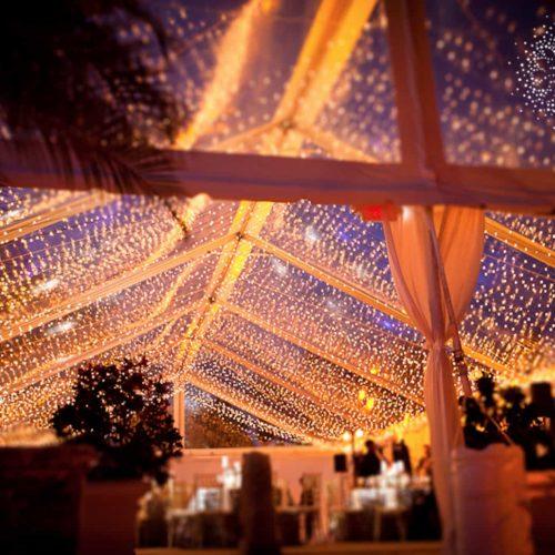Fisher Island Club twinkle lights tent wedding lighting