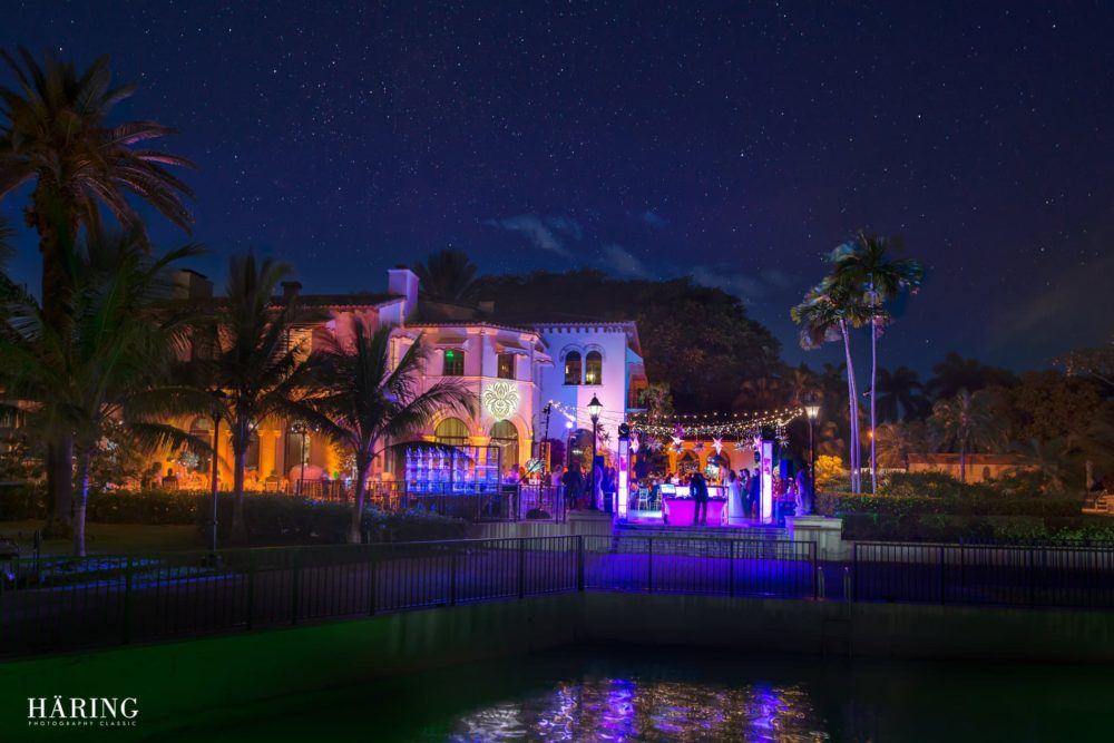 Fisher Island gobo monogram twinkle lights mini lights wedding