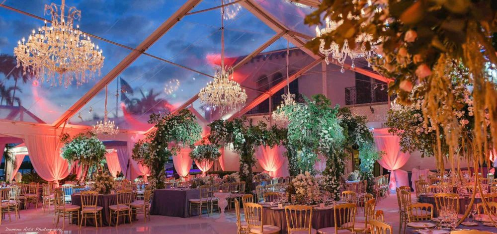 Fisher Island wedding AV and lighting event production