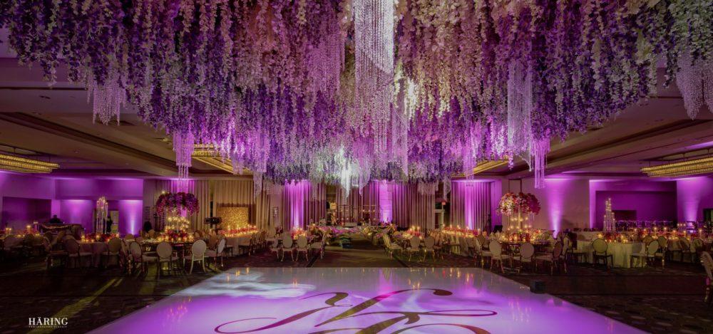 Fontainebleau Miami Beach upside down garden flowers lighting luxury Indian wedding reception