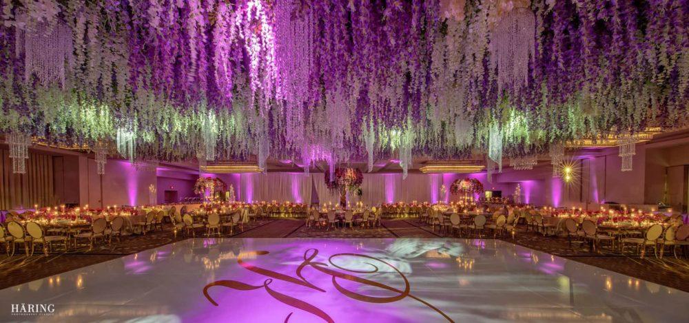 Fontainebleau luxury Indian wedding upside down flower garden lighting