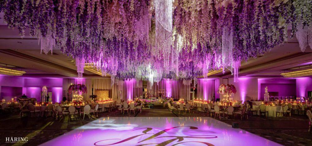 Fontainebleau wedding lighting banner