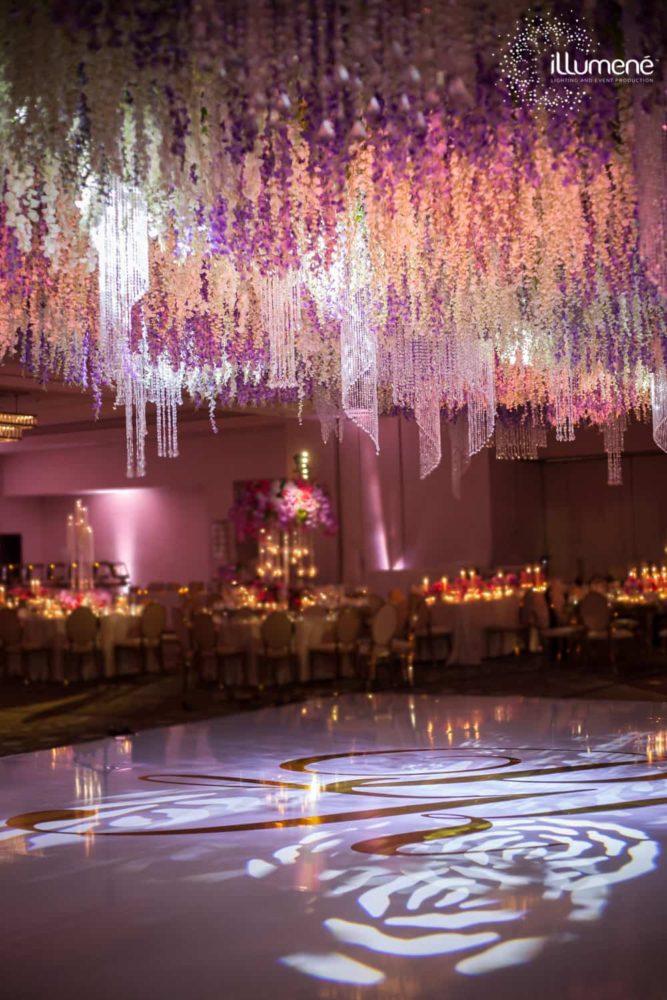 Indian wedding at Fontainebleau Miami Beach gobo lighting dancefloor