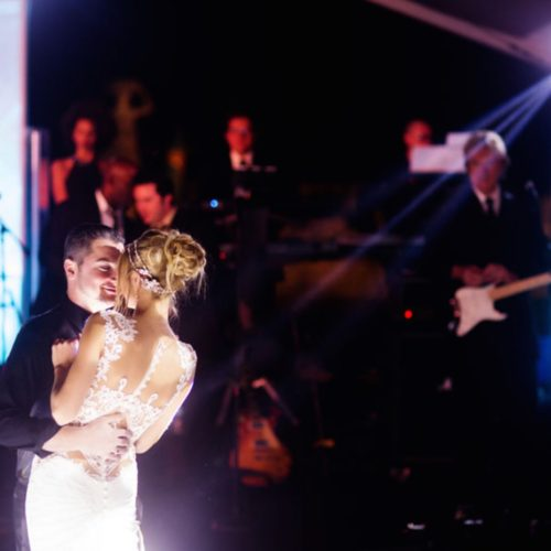 Intelligent lighting Vizcaya Museum and gardens Miami wedding