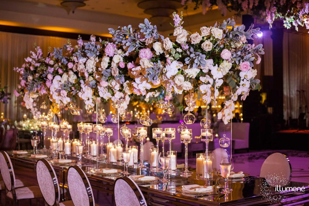 Mandarin Oriental wedding ceremony lighting event production music sound centerpieces lighting pinspots