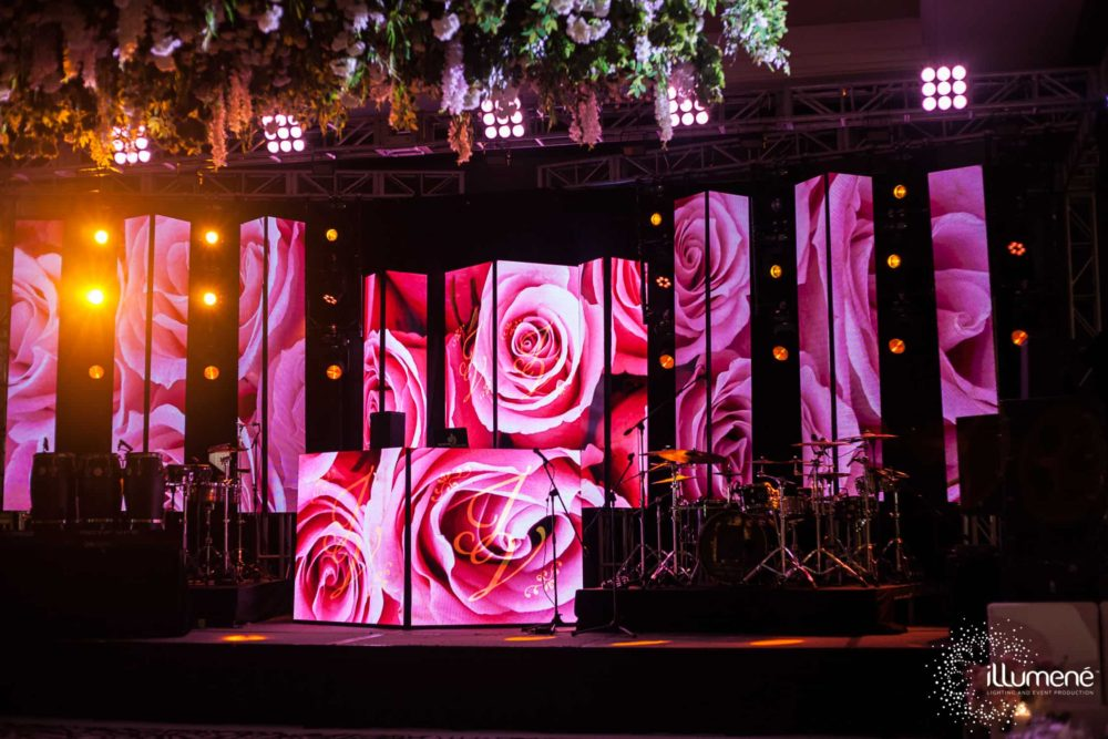 Mandarin Oriental wedding ceremony lighting event production music sound stage
