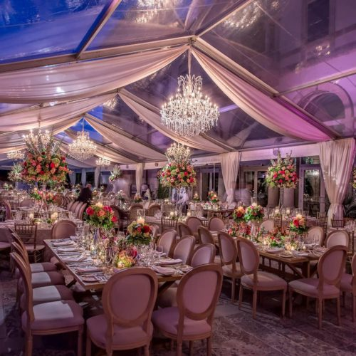 Vizcaya Museum and Gardens rent large crystal chandeliers for a wedding