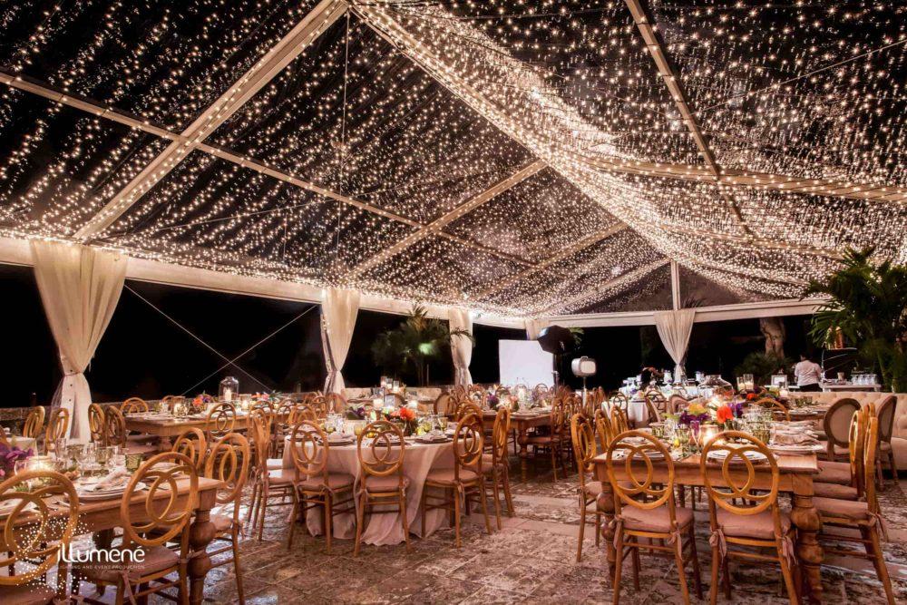 Vizcaya Museum and Gardens tent lighting twinkle lights mini lights canopy