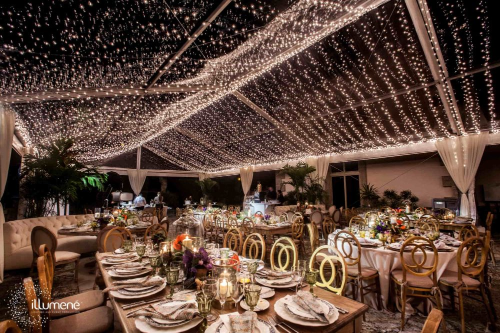 Vizcaya Museum and Gardens tent lighting twinkle lights mini lights canopy ceiling