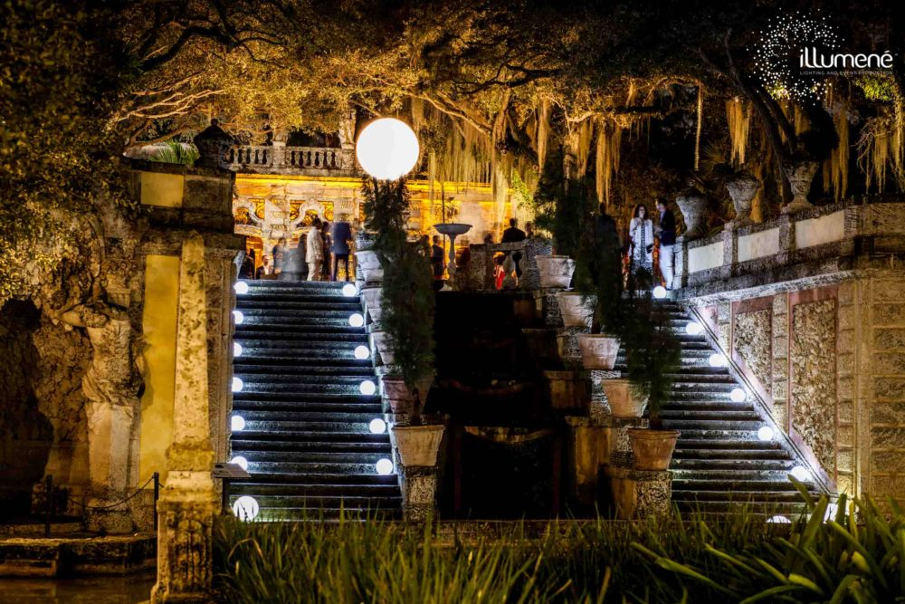 Vizcaya corporate event lighting Miami airstars moon balloon LED glow spheres on stairs to the Mound