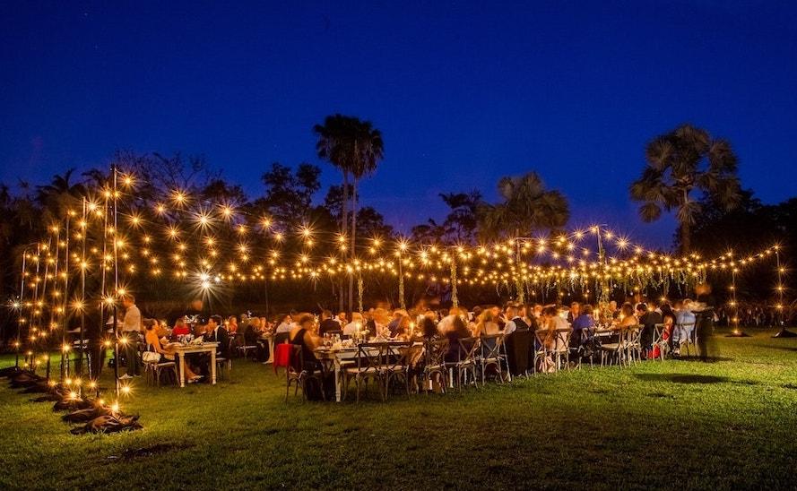 rent string lights Fairchild Tropical Botanic Garden Miami event production small