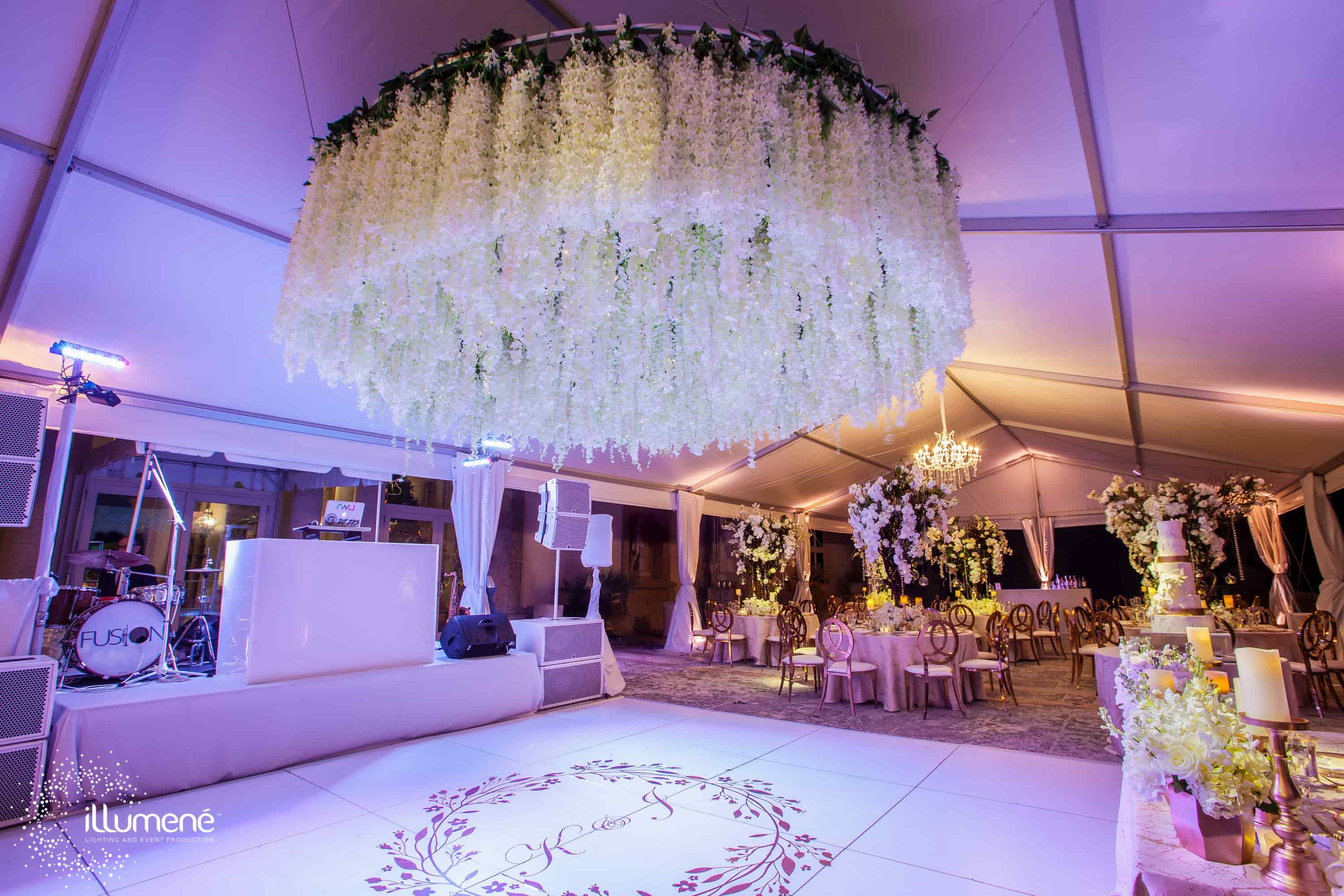 Vizcaya Museum wedding flower canopy flower chandelier