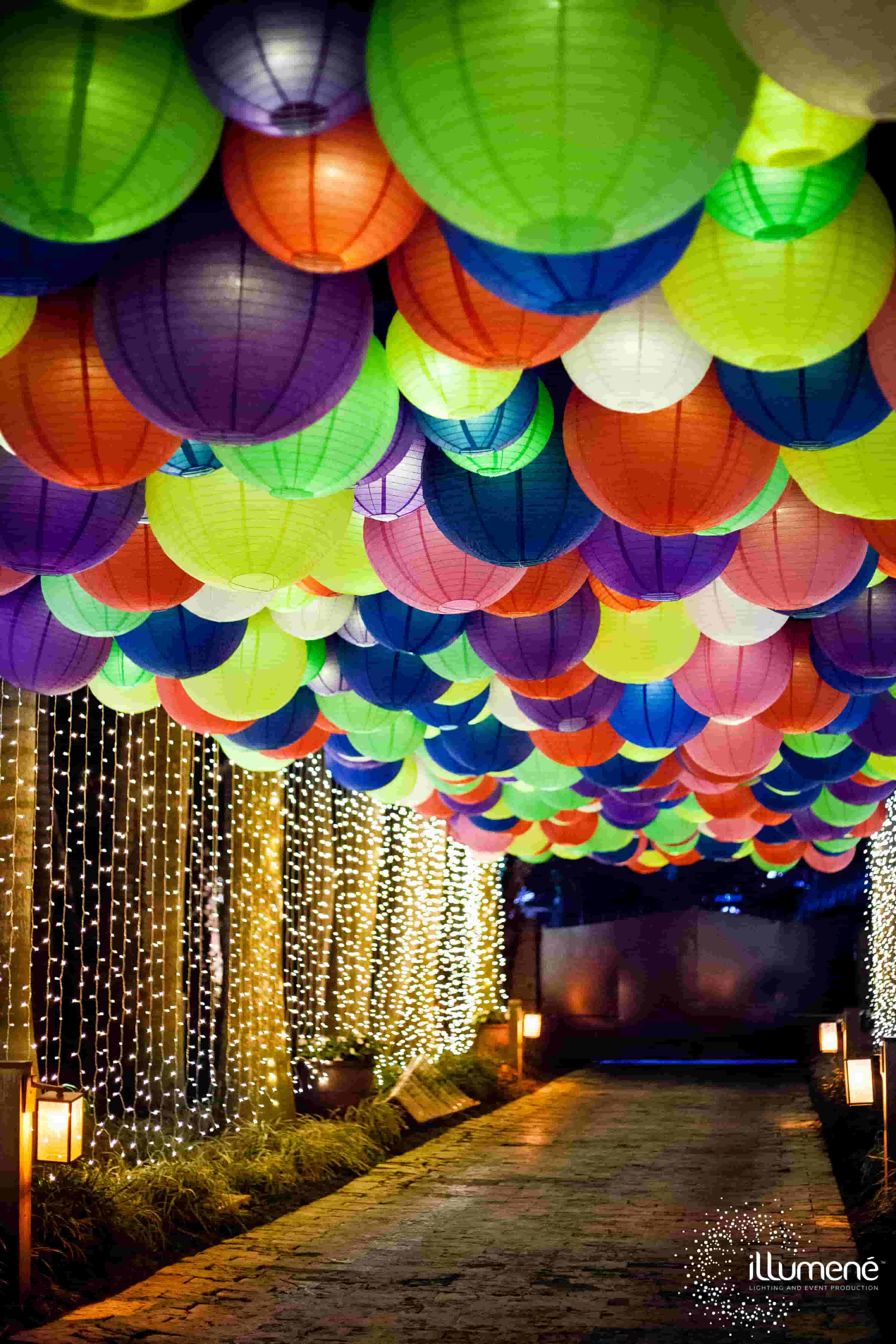 hundreds of paper lanterns for the entrance Miami