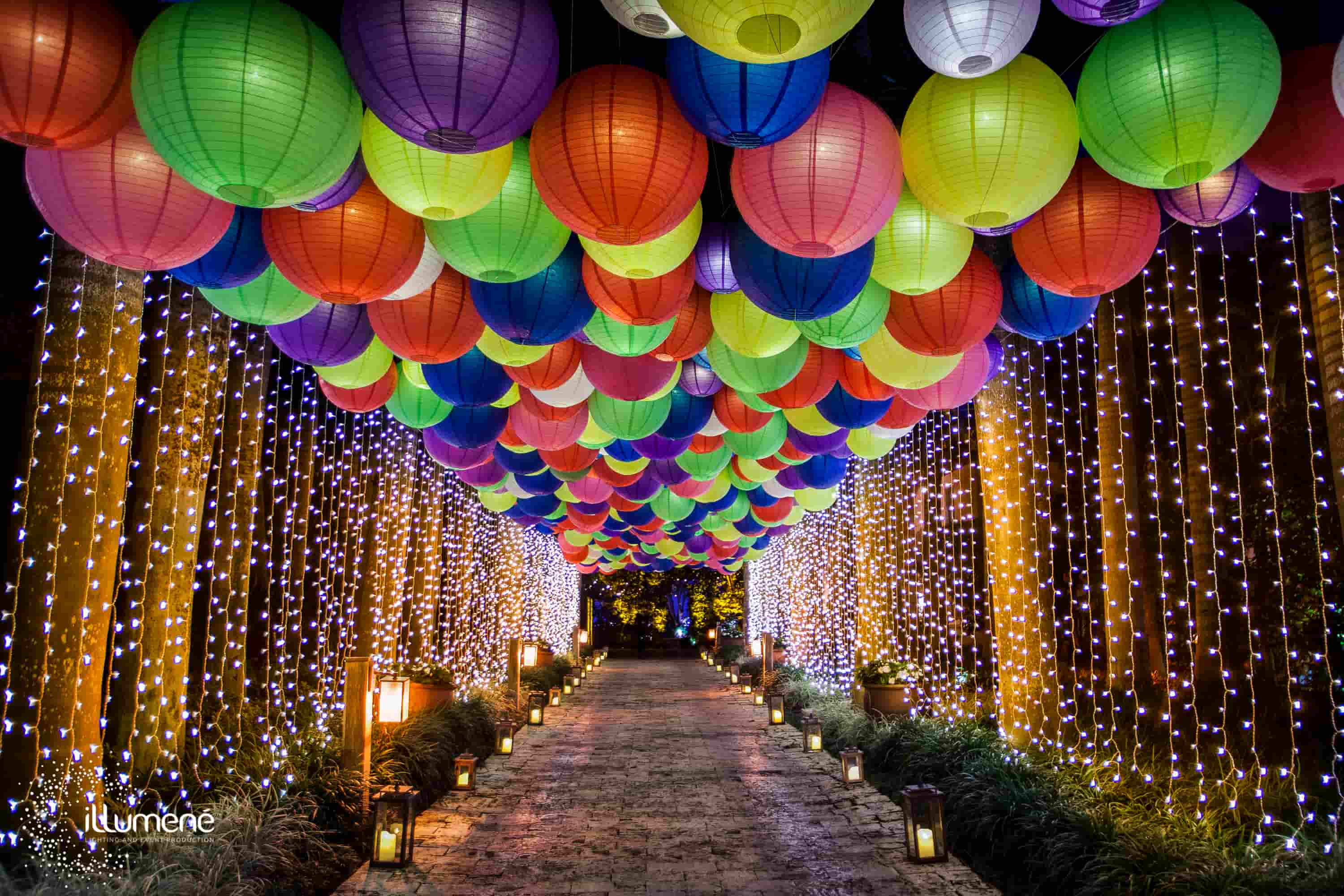hundreds of paper lanterns grand entrance party Miami