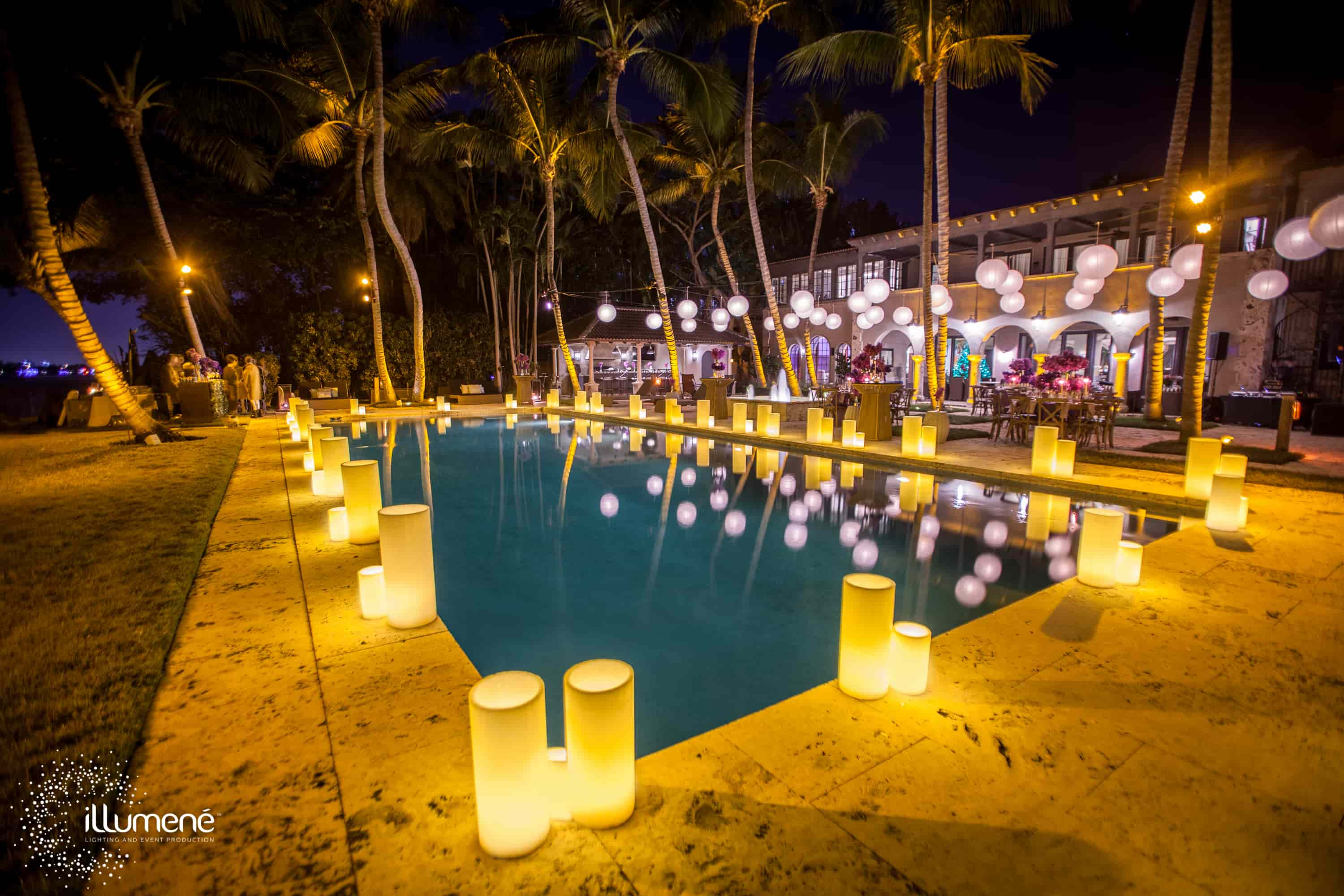 paper lanterns and large candles Miami