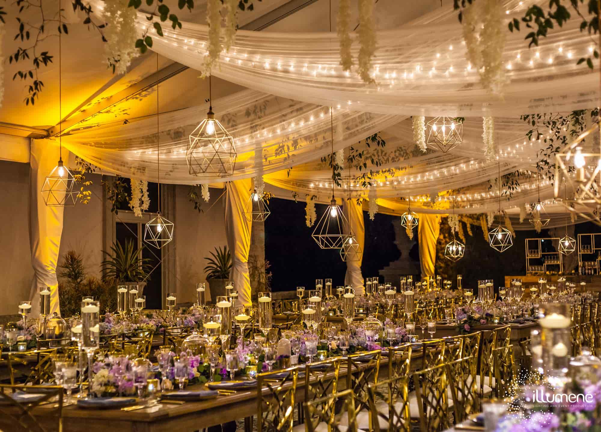 Geometric light pendants rent Miami wedding