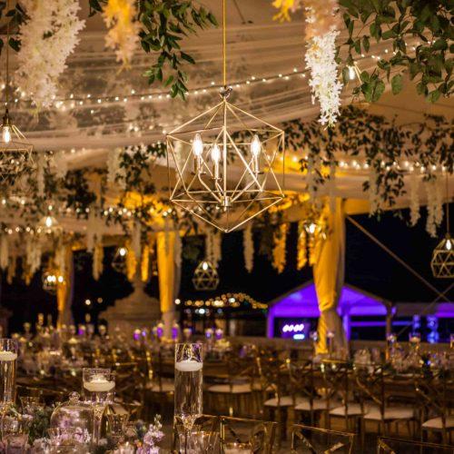 Pendant lights gold geometric chandelier rent Miami